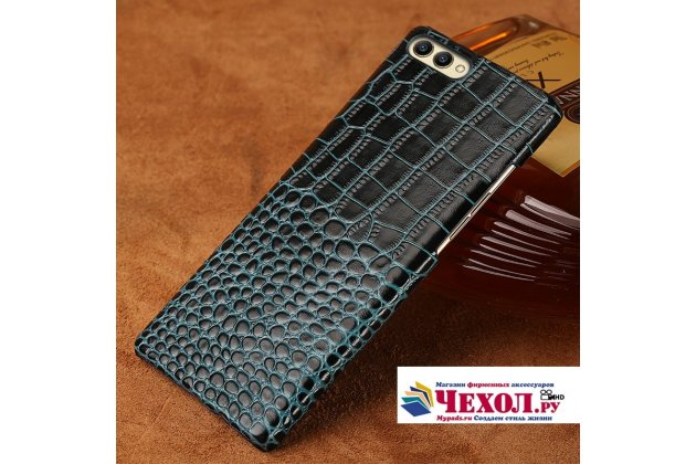 Фирменная элегантная экзотическая задняя панель-крышка с фактурной отделкой натуральной кожи крокодила для Huawei Honor V10 / Honor View 5.99 (BKL-AL20) синяя. Только в нашем магазине. Количество ограничено.