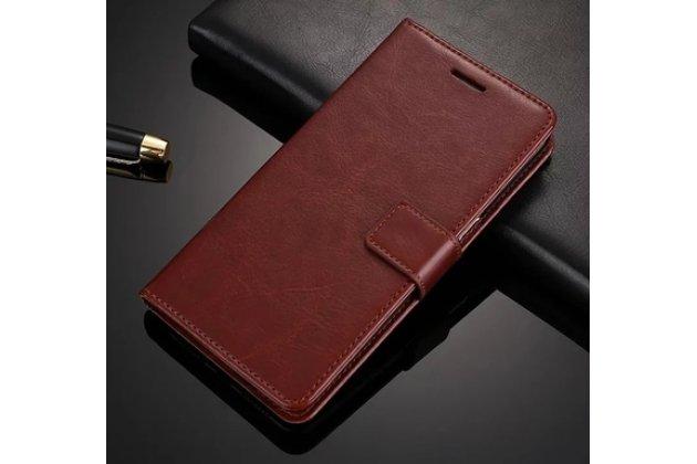 Фирменный чехол-книжка из качественной импортной кожи с подставкой застёжкой и визитницей для Huawei Honor V10 / Honor View 5.99 (BKL-AL20) коричневый