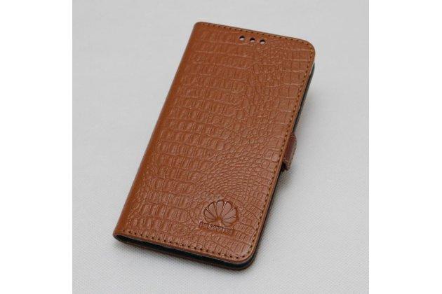 Фирменный оригинальный подлинный чехол с логотипом для Huawei Honor V10 / Honor View 5.99 (BKL-AL20) из натуральной кожи крокодила светло-коричневый