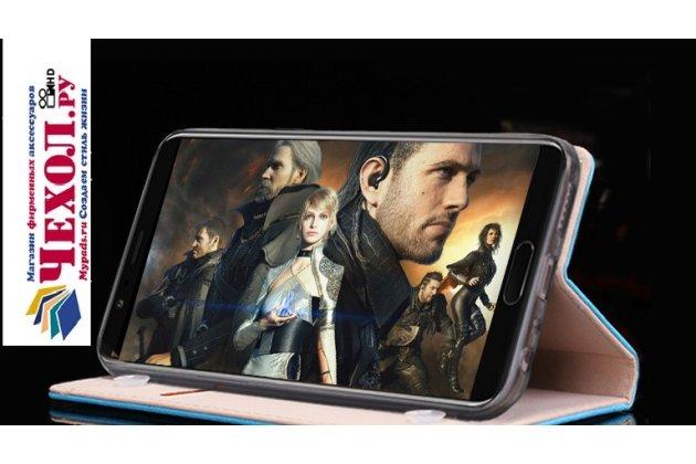 """Фирменный премиальный элитный чехол-книжка с логотипом из качественной импортной кожи с мульти-подставкой и визитницей для Huawei Honor V10 / Honor View 5.99 (BKL-AL20)  """"Ретро"""" черный"""
