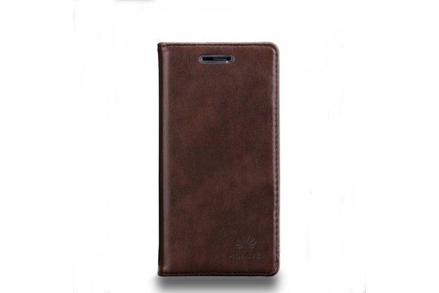 """Фирменный премиальный элитный чехол-книжка с логотипом из качественной импортной кожи с мульти-подставкой и визитницей для Huawei Honor V10 / Honor View 5.99 (BKL-AL20)  """"Ретро"""" коричневый"""