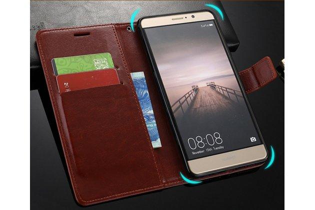 Фирменный чехол-книжка из качественной импортной кожи с подставкой застёжкой и визитницей для Huawei Honor 8X Max (ARE-AL00) 7.12 коричневый