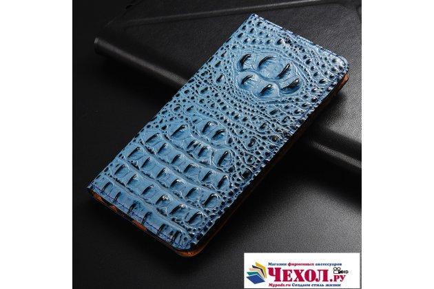 Фирменный роскошный эксклюзивный чехол с объёмным 3D изображением рельефа кожи крокодила синий для Huawei Honor V10 / Honor View 5.99 (BKL-AL20) . Только в нашем магазине. Количество ограничено