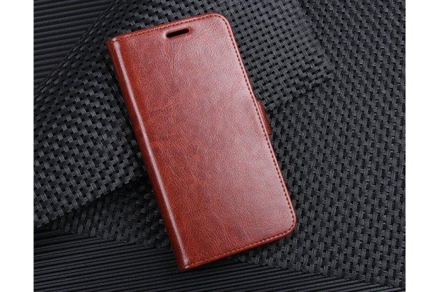 Фирменный чехол-книжка из качественной импортной кожи с подставкой застёжкой и визитницей для Alcatel U5 HD 5047D коричневый