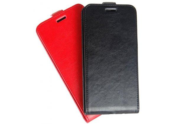 Фирменный оригинальный вертикальный откидной чехол-флип для Alcatel U5 HD 5047D черный из натуральной кожи Prestige