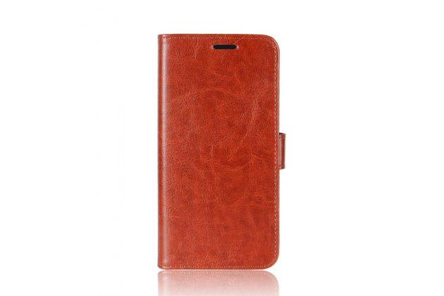 Фирменный чехол-книжка из качественной импортной кожи с подставкой застёжкой и визитницей для Alcatel U5 HD 5047D белый