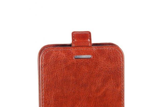 Фирменный оригинальный вертикальный откидной чехол-флип для Alcatel U5 HD 5047D коричневый из натуральной кожи Prestige