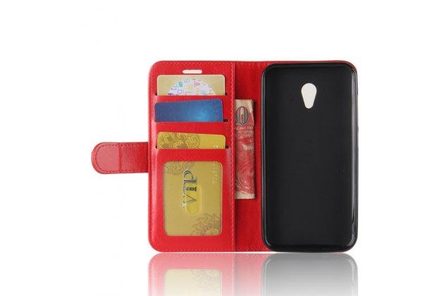 Фирменный чехол-книжка из качественной импортной кожи с подставкой застёжкой и визитницей для Alcatel U5 HD 5047D красный