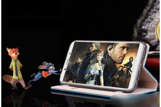 """Фирменный премиальный элитный чехол-книжка с логотипом из качественной импортной кожи с мульти-подставкой и визитницей для Oppo A79 """"Ретро"""" розовый"""