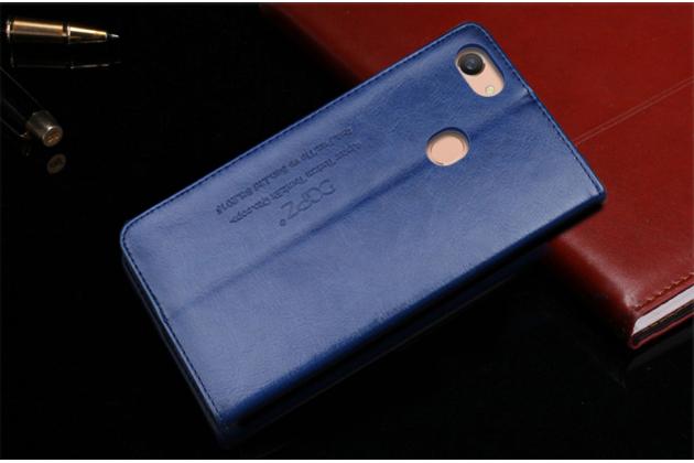 """Фирменный премиальный элитный чехол-книжка с логотипом из качественной импортной кожи с мульти-подставкой и визитницей для Oppo A79 """"Ретро"""" синий"""