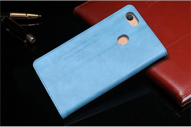 """Фирменный премиальный элитный чехол-книжка с логотипом из качественной импортной кожи с мульти-подставкой и визитницей для Oppo A79 """"Ретро"""" голубой"""