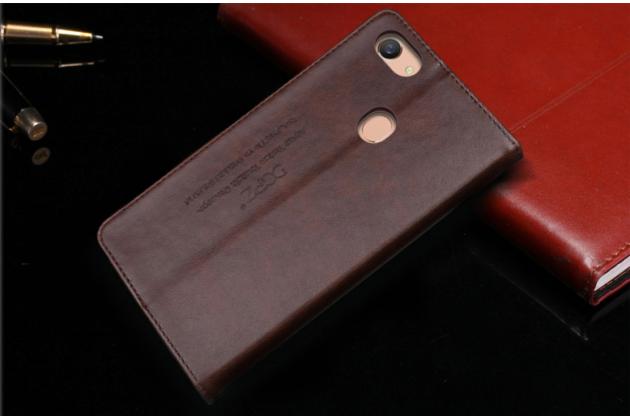 """Фирменный премиальный элитный чехол-книжка с логотипом из качественной импортной кожи с мульти-подставкой и визитницей для Oppo A79 """"Ретро"""" коричневый"""