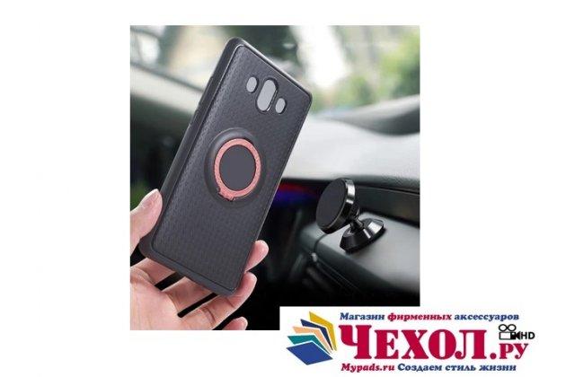 Противоударный усиленный ударопрочный фирменный чехол-бампер-пенал для Huawei P8 Lite 2017 Edition 5.2 (PRA-AL00X) черный с розовым кольцом-подставкой  и магнитом