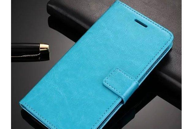 Фирменный чехол-книжка из качественной импортной кожи с подставкой застёжкой и визитницей для Oppo A79 голубой
