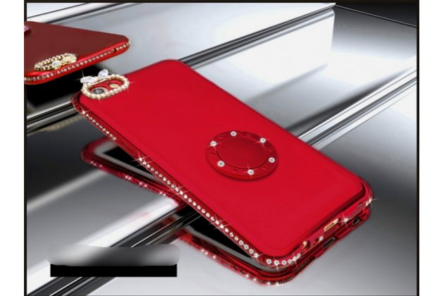 Задняя панель-крышка из прочного пластика с матовым противоскользящим покрытием украшенная стразами и кристалликами для Oppo A79 с подставкой в красном цвете