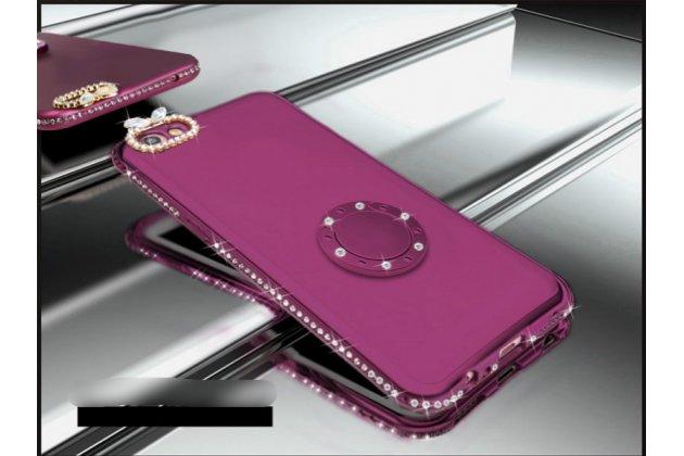 Задняя панель-крышка из прочного пластика с матовым противоскользящим покрытием украшенная стразами и кристалликами для Oppo A79 с подставкой в фиолетовом цвете