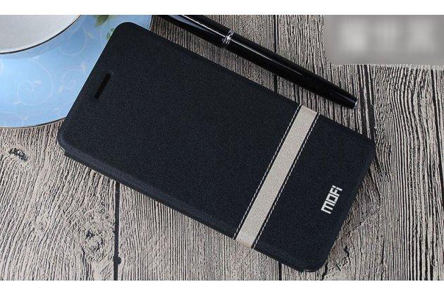 Фирменный чехол-книжка водоотталкивающий с мульти-подставкой на жёсткой металлической основе для Oppo A79 черный с золотой полосой