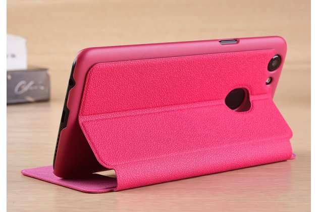 Фирменный чехол-книжка для Oppo A79 розовый с окошком для входящих вызовов и свайпом водоотталкивающий
