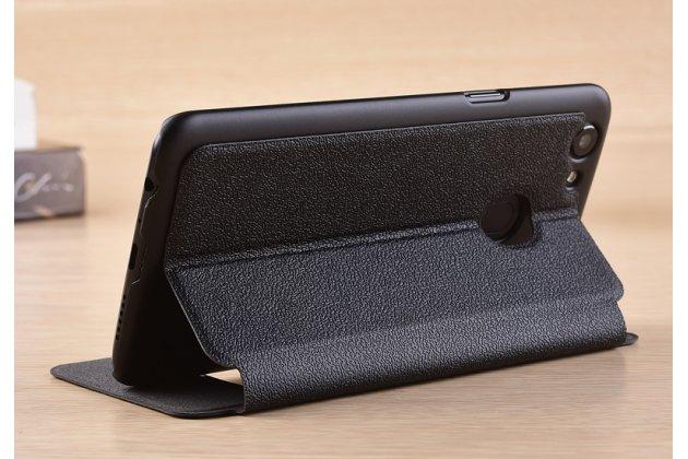 Фирменный чехол-книжка для Oppo A79 черный с окошком для входящих вызовов и свайпом водоотталкивающий