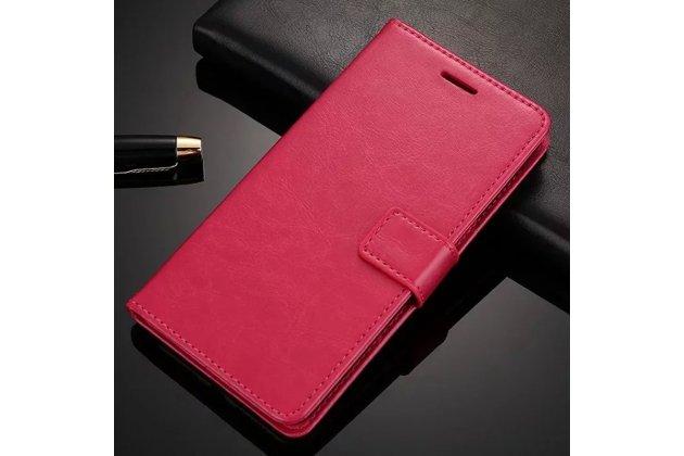 Фирменный чехол-книжка из качественной импортной кожи с подставкой застёжкой и визитницей для Oppo A79 розовый