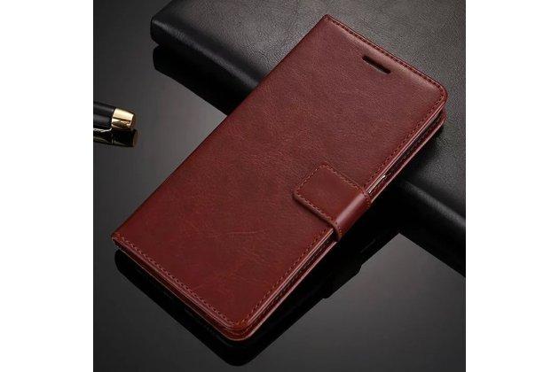 Фирменный чехол-книжка из качественной импортной кожи с подставкой застёжкой и визитницей для Oppo A79 коричневый