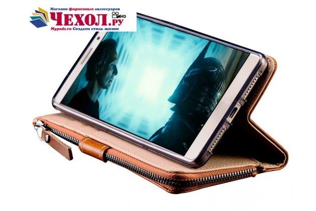 Фирменный чехол-портмоне-клатч-кошелек на силиконовой основе из качественной импортной кожи для Huawei Nova 2S (HWI-AL00) коричневый