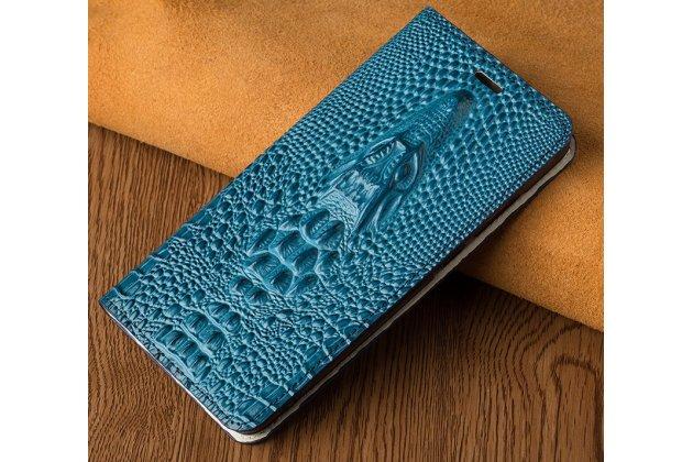 Фирменный роскошный эксклюзивный чехол с объёмным 3D изображением кожи крокодила синий для Huawei Nova 2S (HWI-AL00)  Только в нашем магазине. Количество ограничено