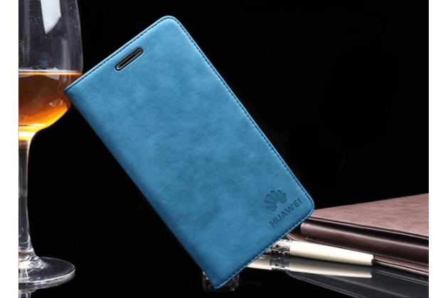 """Фирменный премиальный элитный чехол-книжка с логотипом из качественной импортной кожи с мульти-подставкой и визитницей для Huawei Nova 2S (HWI-AL00)  """"Ретро"""" голубой"""