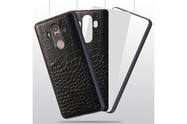 Фирменная задняя панель-крышка с фактурной отделкой натуральной кожи крокодила для Huawei Nova 2S (HWI-AL00) черная. Только в нашем магазине. Количество ограничено.