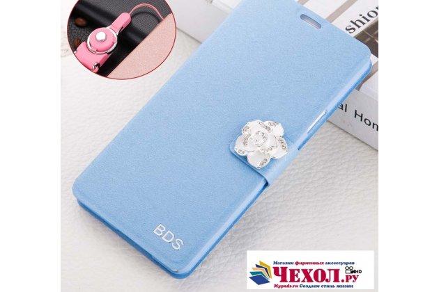 Фирменный роскошный чехол-книжка безумно красивый декорированный бусинками и кристаликами на Huawei Nova 2S (HWI-AL00) голубой