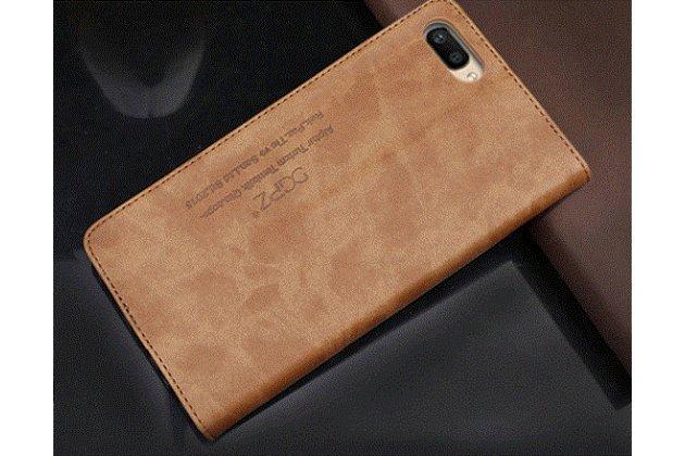 """Фирменный премиальный элитный чехол-книжка с логотипом из качественной импортной кожи с мульти-подставкой и визитницей для Huawei Nova 2S (HWI-AL00) """"Ретро"""" коричневый"""