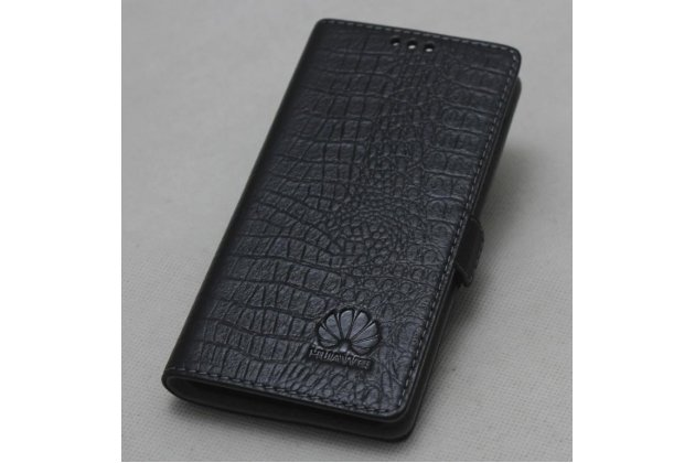 Фирменный оригинальный подлинный чехол с логотипом для Huawei Nova 2S (HWI-AL00) из натуральной кожи крокодила черный