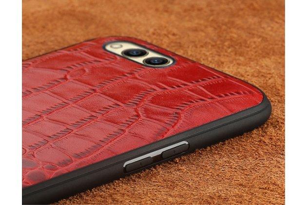 Фирменная задняя панель-крышка с фактурной отделкой натуральной кожи крокодила для Huawei Nova 2S (HWI-AL00) красная. Только в нашем магазине. Количество ограничено.