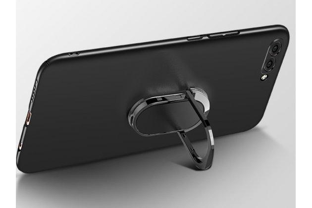 Задняя панель-крышка из прочного пластика с матовым противоскользящим покрытием для Huawei Nova 2S (HWI-AL00)  с магнитным держателем в черном цвете