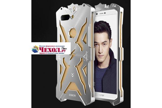 Противоударный металлический чехол-бампер из цельного куска металла с усиленной защитой углов и необычным экстремальным дизайном  для  Huawei Honor 9 Lite (LLD-AL00) серебристого цвета