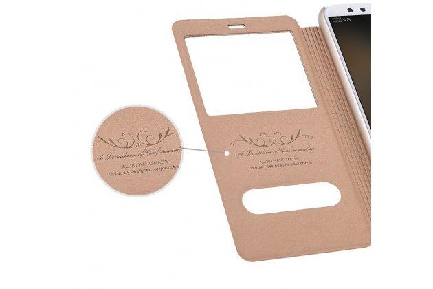 Фирменный чехол-книжка для Huawei Honor 9 Lite (LLD-AL00) золотой с окошком для входящих вызовов и свайпом водоотталкивающий