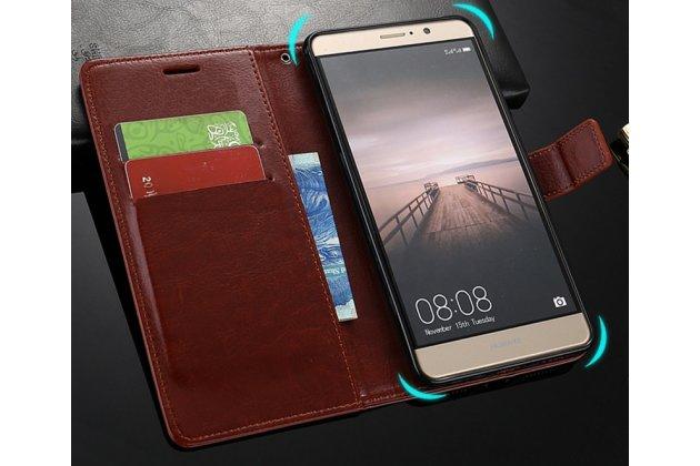 Фирменный чехол-книжка из качественной импортной кожи с подставкой застёжкой и визитницей для Huawei Honor 9 Lite (LLD-AL00) коричневый