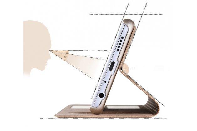 Фирменный чехол-книжка для Huawei Honor 9 Lite (LLD-AL00) белый с окошком для входящих вызовов и свайпом водоотталкивающий