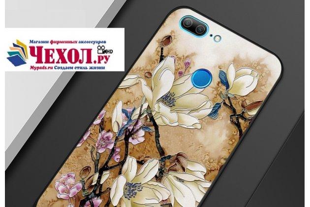 Фирменная уникальная задняя панель-крышка-накладка из тончайшего силикона для Huawei Honor 9 Lite (LLD-AL00) с объёмным 3D рисунком тематика Цветы