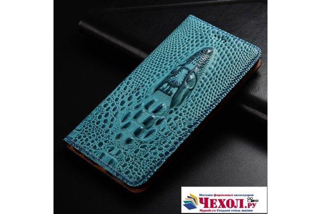 Фирменный роскошный эксклюзивный чехол с объёмным 3D изображением кожи крокодила синий для Huawei Honor 9 Lite (LLD-AL00)  Только в нашем магазине. Количество ограничено
