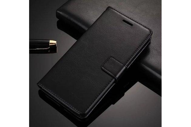 Фирменный чехол-книжка из качественной импортной кожи с подставкой застёжкой и визитницей для Huawei Honor 9 Lite (LLD-AL00) черный