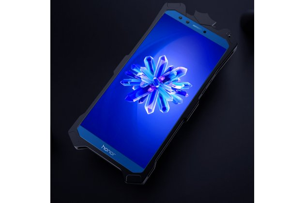 Противоударный металлический чехол-бампер из цельного куска металла с усиленной защитой углов и необычным экстремальным дизайном  для  Huawei Honor 9 Lite (LLD-AL00) черного цвета