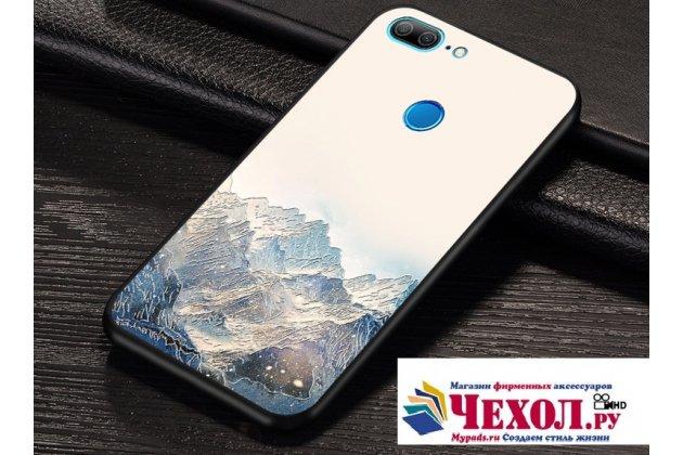 Фирменная уникальная задняя панель-крышка-накладка из тончайшего силикона для Huawei Honor 9 Lite (LLD-AL00) с объёмным 3D рисунком тематика Снежные горы