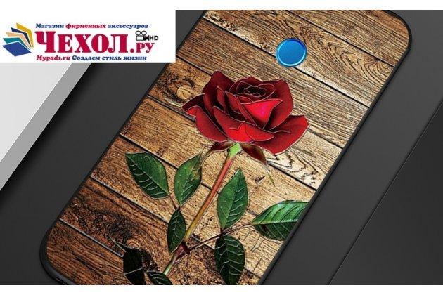 Фирменная уникальная задняя панель-крышка-накладка из тончайшего силикона для Huawei Honor 9 Lite (LLD-AL00) с объёмным 3D рисунком тематика Роза