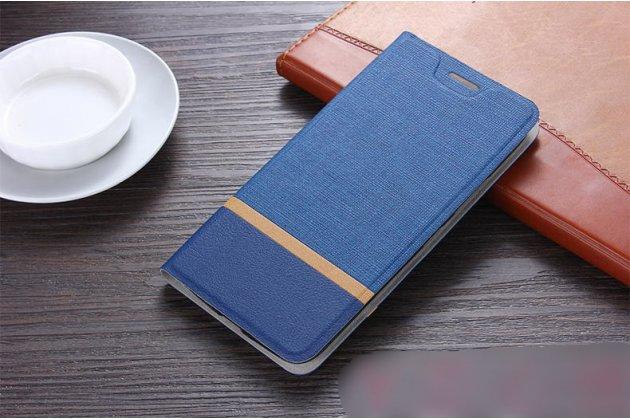 Фирменный чехол-книжка водоотталкивающий с мульти-подставкой на жёсткой металлической основе для Lenovo K8 5.2 синий из настоящей джинсы