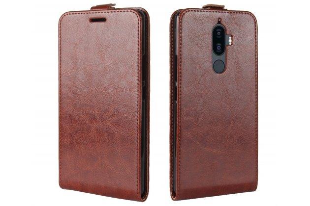 Фирменный оригинальный вертикальный откидной чехол-флип для Lenovo K8 5.2 коричневый из натуральной кожи Prestige