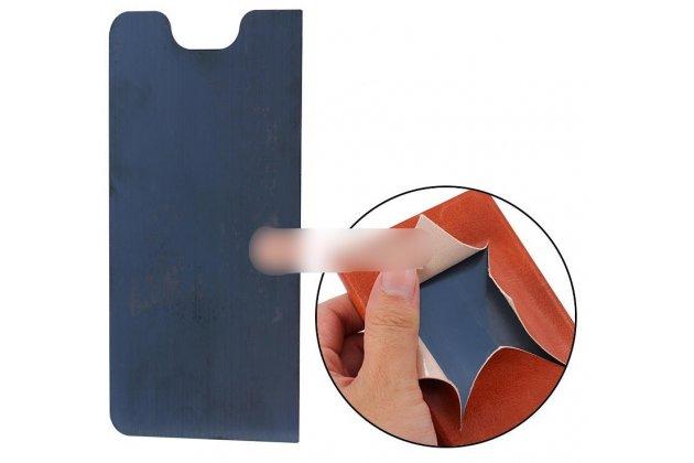 Фирменный чехол-книжка из качественной водоотталкивающей импортной кожи на жёсткой металлической основе для Lenovo K8 5.2 голубой