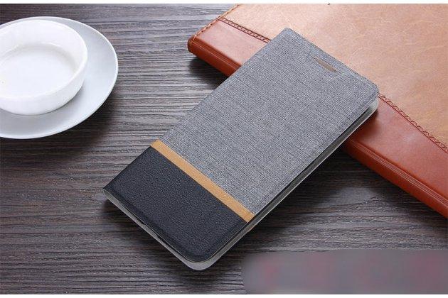Фирменный чехол-книжка водоотталкивающий с мульти-подставкой на жёсткой металлической основе для Lenovo K8 5.2 серый из настоящей джинсы