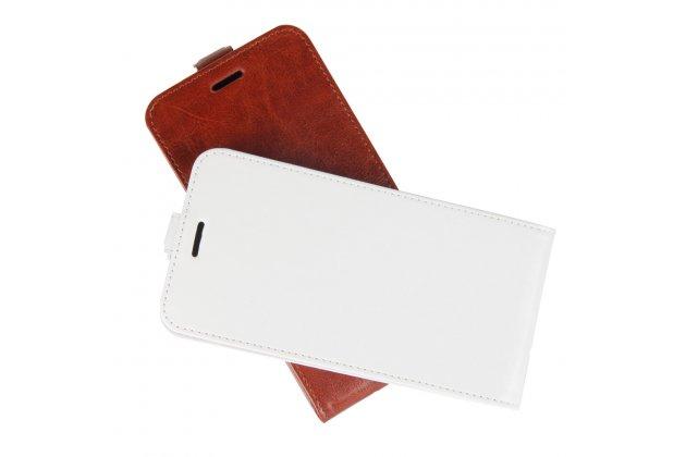 Фирменный оригинальный вертикальный откидной чехол-флип для Lenovo K8 5.2 белый из натуральной кожи Prestige