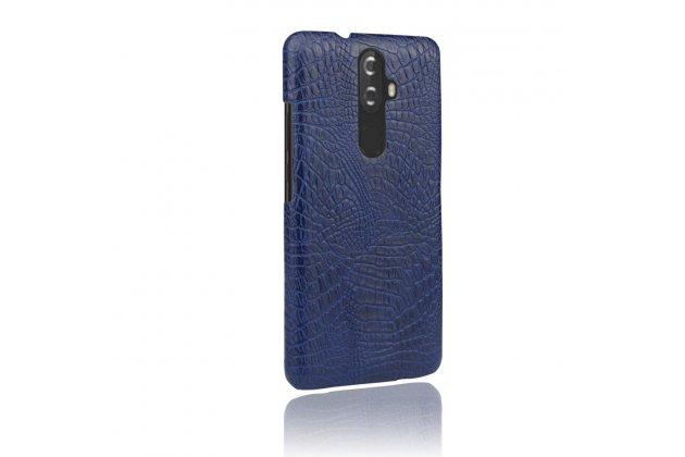 Фирменная роскошная элитная премиальная задняя панель-крышка на пластиковой основе обтянутая лаковой кожей крокодила  для Lenovo K8 5.2 синяя
